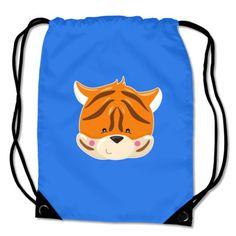 Turnbeutel mit dem Motiv Tiergesicht Tiger. Kinder Turnbeutel BagBase® Tiergesicht Tiger