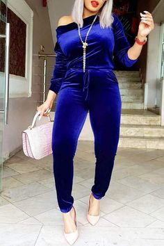lovelywholesale / Lovely Casual Sloping Shoulder Deep Blue Velvet One-piece Jumpsuit Jumpsuit Outfit, Casual Jumpsuit, Romper Suit, Velvet Fashion, Suit Fashion, Blue One Piece, Velvet Jumpsuit, Dressy Attire, Jumpsuit With Sleeves