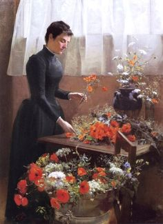 Caroline McCurdy (American painter, 19-20th century ) - The Flower Arranger, 1891