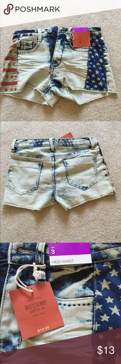 American Flag Jean Shorts Super cute distressed American flag Jean shorts! Size 3 from target, fit a little tight around the waist. Bought them last summer but they no longer fit as I hoped. Never worn, tags still on! Mossimo Supply Co Shorts Jean Shorts