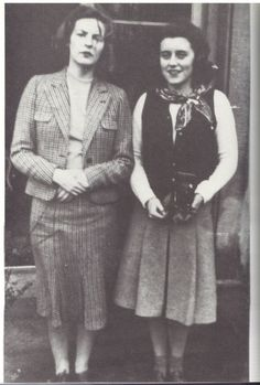 Hon. Deborah Freeman-Mitford Cavendish, (future Duchess of Devonshire) with her sister in law Kathleen Kennedy Cavendish, Marchioness of Hartington.