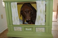 Transforming An Old TV Into A Cozy Dog Bed... great idea!  You just need to get an old TV somewhere. These TV usually looks quite ugly but with simple painting and decorating they can easily become a stylish and lovely dog bed.