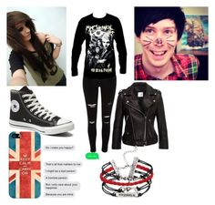 """""""date with Phil Lester (again)"""" by emobvbptv on Polyvore featuring Converse, Casetify, women's clothing, women, female, woman, misses and juniors"""