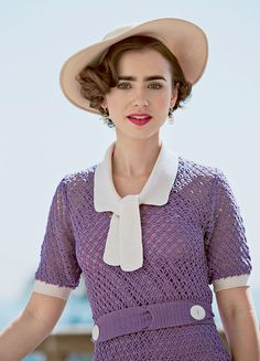 Lily Collins wearing a 1930s crochet dress in The Last Tycoon