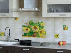 """""""Акварель"""" - Коллекция керамической плитки с комплектом """"Подсолнухи"""" и декоративными элементами Kitchen Cabinets, Home Decor, Interior Design, Home Interior Design, Dressers, Home Decoration, Decoration Home, Kitchen Cupboards, Interior Decorating"""