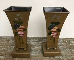 Vintage gold Aluminium Tall Vases Set of Vases with Hand Paint in the Front by GenesisVintageShop on Etsy