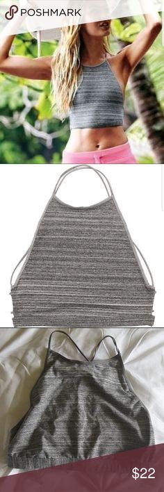High neck bralette High neck grey crop top bralette with an open strappy back.  Size medium. Victoria's Secret Tops Crop Tops