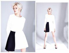 Biało-czarna trapezowa sukienka z długim rękawem z kolekcji AW 2014/15 THECADESS