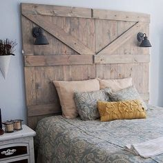 We think that using doors as headboards can be a tricky look to pull off, but the wide frame, natural tones, and industrial sconces help them to feel substantial enough while complementing other elements of the room. Source: Instagram user scoutinteriordesign
