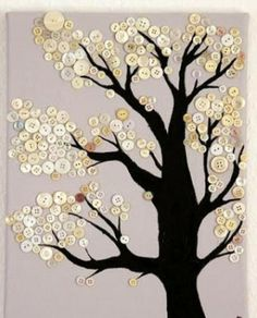This would be cute to have kids or even yourself paint the base of the tree, and then have them add the buttons.