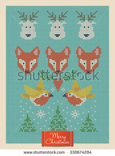 Christmas and New Year knitted card with foxes, deer and birds. Scandinavian knitted ornaments. Creative vector illustration.