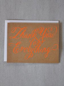 1am sat early 8/31 - Keep-a-palooza part 4  ;;   Banquet Atelier & Workshop — Neon Orange Thank You for Everything Card