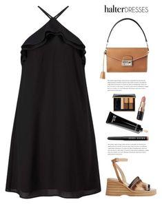 Black Halter Dress by yexyka on Polyvore featuring polyvore fashion style Miss Selfridge Estée Lauder Bobbi Brown Cosmetics clothing halterdresses