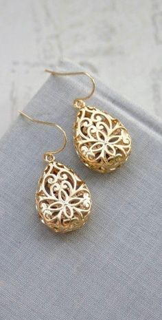 Gold Pear Filigree Earrings, Boho Teardrop Filigree Earrings, Boho Wedding Bridesmaid Gifts Gold Lace Modern Pear Filigree Earrings by Marolsha - https://www.etsy.com/listing/265606170/gold-filigree-earrings-boho-teardrop?ref=shop_home_active_4