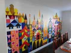 Stunning hand-painted Mary Blair (Disney's Small World) wall mural. So fun! More pics at the link.