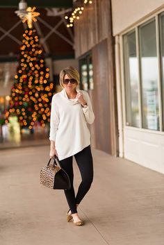 Tunic and leggings with cute animal print flats
