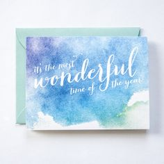 Your place to buy and sell all things handmade Time Of The Year, Wonderful Time, Holiday Cards, All Things, Watercolor, My Love, Handmade, Etsy, Products