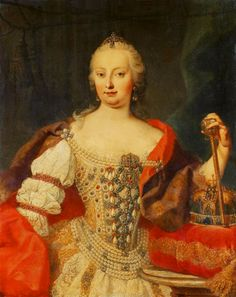 Maria Theresia, Queen of Hungary attributed to Martin van Meytens (auctioned by Tajan). upper edge, background above both shoulders and to right of scepter fixed and image made darker and saturation increased with Photoshop. Marie Antoinette, Maria Teresa, Rococo Fashion, Old Portraits, Austria, Holy Roman Empire, Court Dresses, 18th Century Fashion, Herzog