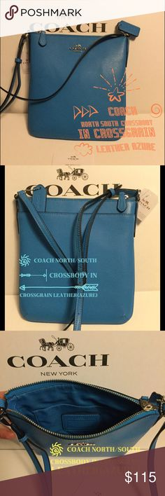 "COACH NORTH/SOUTH CROSSBODY PURSE (COLOR:AZURE🔷) COACH NORTH/SOUTH CROSSBODY in CROSSGRAIN LEATHER-NWT 🔷This AZURE colored crossbody is a beautiful color for any occasion🔷Inside multifunction pocket 🔷Zip-top closure, fabric lining 🔷Outside pocket on the back with snap closure 🔷Adjustable strap with 22"" drop for shoulder or crossbody wear 🔷Perfect size purse to hold all your essentials🔹COLOR:AZURE🔹Size: 8 (L) x 8 1/2 (H) x 1 1/4 (W). The first picture looks more like the actual…"