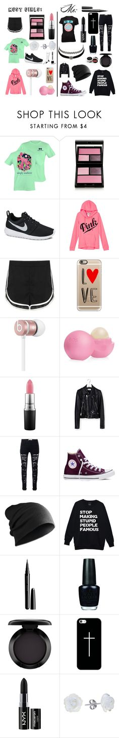Emo Vs. The Rest of Society by ainsley-matthews on Polyvore featuring Yves Saint Laurent, NIKE, Converse, AeraVida, Casetify, Beats by Dr. Dre, Surratt, MAC Cosmetics, NYX and Marc Jacobs