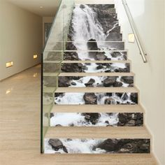 Online Shop Steps Sticker Wall Mural Waterfall Wallpaper Removable Decals Self Adhesive PVC Stickers Home Decoration Stair Stickers, Wall Decor Stickers, Wall Decals, Decorative Stickers, Sticker Vinyl, Wall Mural, Wallpaper Stickers, Wallpaper Decor, Waterfalls