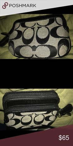 """Coach Zip Wallet Coach Park Signature Double Zip Coin Wallet   COLOR: SILVER/BLACK/WHITE/BLACK  Description:  Signature fabric with leather trim  Credit card and multifunction pockets  ID window  Zip closures  4 3/4"""" (L) x 3 1/2"""" (H)  This is a signature product Coach Bags Wallets"""