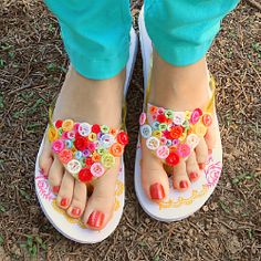 Button flip flops tutorial