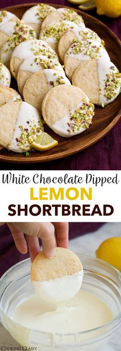White Chocolate Dipped Lemon Shortbread - Classic buttery shortbread with an upgrade of bright fresh lemon flavor, sweet white chocolate and crisp pistachios. A delicious holiday cookie! via Jaclyn {Cooking Classy} Easy Holiday Cookies, Holiday Cookie Recipes, Christmas Cookies For Kids, Unique Cookie Recipes, Best Christmas Cookie Recipe, Buttery Shortbread Cookies, Lemon Cookies, Christmas Shortbread Cookies, Shortbread Cookie Recipes