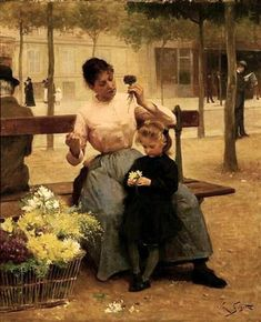 Flower Seller With Child by Victor Gabriel Gilbert (1847-1933, French)