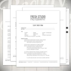 Clean Photography Forms! 5 Essential Contracts and Order Form Templates by Beauty Divine Design on Etsy
