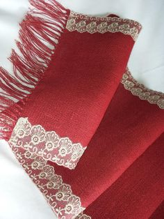 Christmas red Burlap and gold lace table runner - Size inches - Variety of burlap color options, Burlap Projects, Burlap Crafts, Sewing Projects, Table Runner Size, Burlap Table Runners, Beautiful Christmas, Red Christmas, Burlap Lace, Christmas Decorations