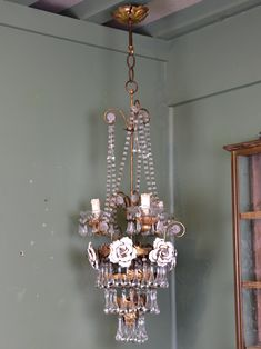 French vintage crystal chandelier 1930s french antique and italian chandelier with roses from the 1950s aloadofball Images