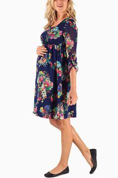 Navy-Blue-Neon-Floral-Printed-Chiffon-3/4-Sleeve-Maternity-Dress! So cute!!!