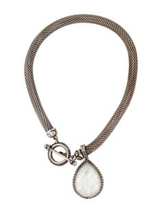 $296.00  Stephen Dweck Carved Quartz and Mother of Pearl Doublet Pendant Necklace