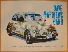"Dave Matthews Band - silkscreen concert poster (click image for more detail) Artist: Methane Studios Venue: DTE Energy Music Theatre Location: Clarkston, MI Concert Date: 8/23/2007 Size: 25"" x 19"" Edi"
