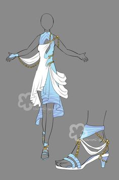 Fantasy Priestess Outfit by Nahemii-san on DeviantArt Would wear in a heart beat Dress Drawing, Drawing Clothes, Dress Sketches, Fashion Sketches, Anime Outfits, Cool Outfits, Anime Dress, Fantasy Dress, Fantasy Clothes