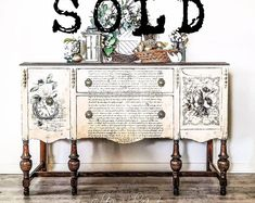 Items similar to SOLD! Antique Refinished Ornate Jacobean Hand Painted French Country Shabby Chic Romantic Aqua Pastel Blue Buffet Sideboard on Etsy Shabby Chic Furniture, Painted Furniture, Home Furniture, French Furniture, Antique Furniture, Modern Furniture, Distressed Furniture, Furniture Projects, Outdoor Furniture