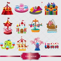 Kids Carnival Clipart Set - Clip Art of Circus