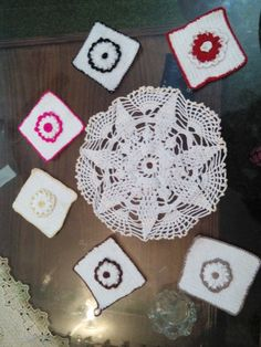 My first project is that doily. And secondly these 6 coasters.
