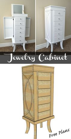Woodworking Designs Build a beautiful jewelry cabinet to organize and store all of your beautiful things. Free DIY woodworking plans - Build a beautiful jewelry cabinet to store and organize your jewelry, free woodworking plans. Easy Wood Projects, Woodworking Projects Diy, Woodworking Furniture, Teds Woodworking, Furniture Plans, Diy Furniture, Project Ideas, Woodworking Machinery, Woodworking Classes