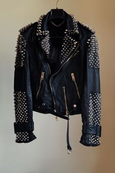 #jacket #perfecto #studs #leather #gold #black #rock #fashion