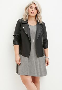 Faux Leather Moto Jacket   Forever 21 PLUS - 2000180698