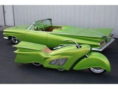 Chartreuse, 1959 Chevy Convertible and Matching bike. I don't know which of these is more bad ass. Love the color too.