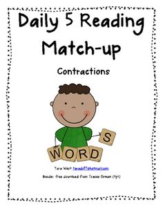 Great Daily 5 word work choice.  Students will place the two cards to make the contraction, then record their answer on the recording mat. 10 C...