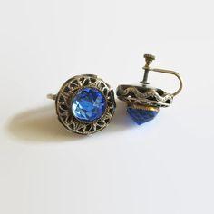 Blue Rhinestone Earrings, Vintage Deep Blue Briolette Rhinestones... ($16) ❤ liked on Polyvore featuring jewelry, earrings, vintage screw back earrings, rhinestone earrings, vintage rhinestone earrings, blue earrings and vintage silver jewelry