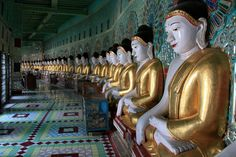 The Forty-Five Statues of Buddha Inside Umin Thounzeh Temple, Sagaing, Burma