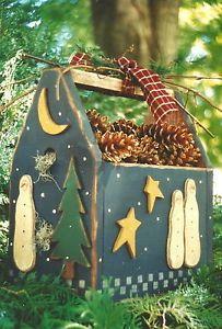 "Primitive Wood Snowman Patterns | Primitive Wood Pattern Winter Nights Box w Snowmen 13 5"" Country Whims ..."