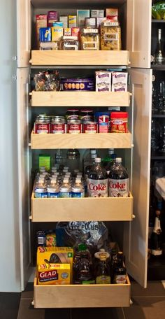 Kitchen Inspiration Galleries-   Can do a deep pantry with door--half pull out half shelves for large stockpots, etc.