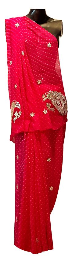Rana Fashions Pure Georgette Fuchia Pink Mothra Saree