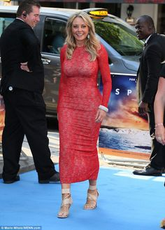 Ultra glamorous: Carol Vorderman, flaunted her hour glass curves in a skin-tight red lace gown at the Spitfire premiere in London on Monday Sexy Older Women, Sexy Women, Carol Vordeman, Red Lace Gown, Bollywood, Tv Girls, Jolie Lingerie, Tv Presenters, Skin Tight